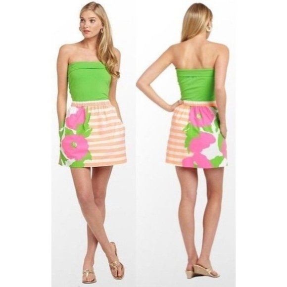 Lilly Pulitzer Strapless Fleur Neon Sunrise dress